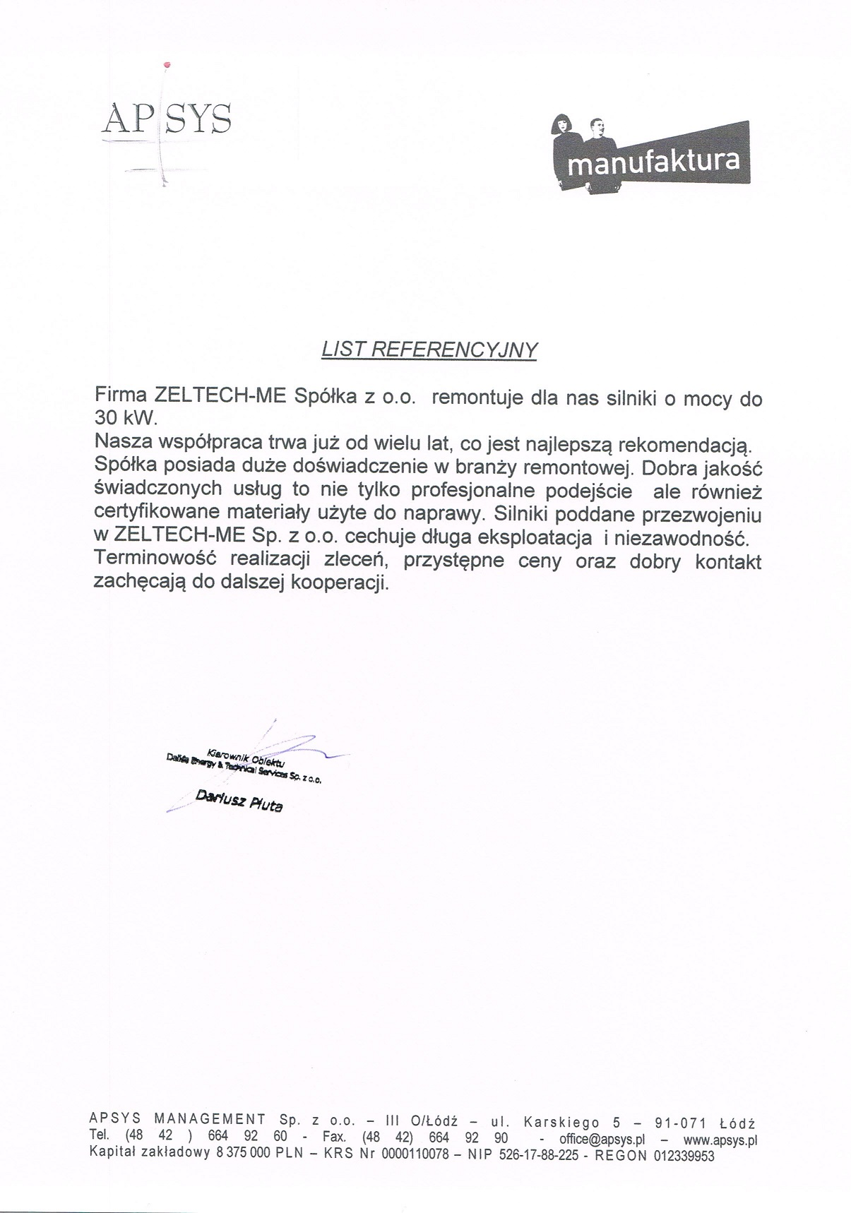 List Referencyjny APSYS