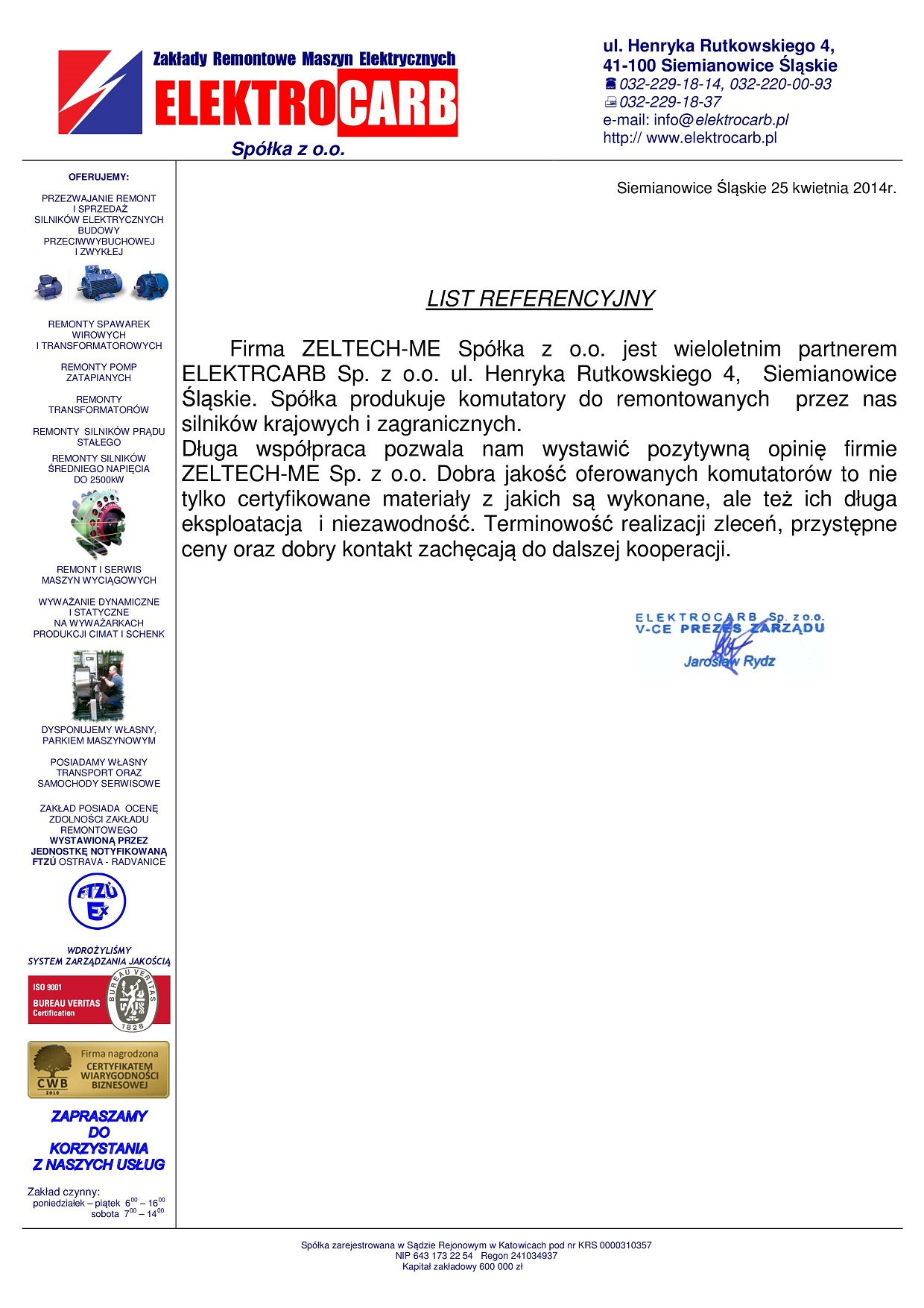 List Referencyjny ELEKTROCARB