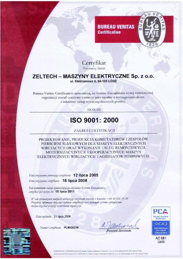 Certyfikat ISO 9001:2000