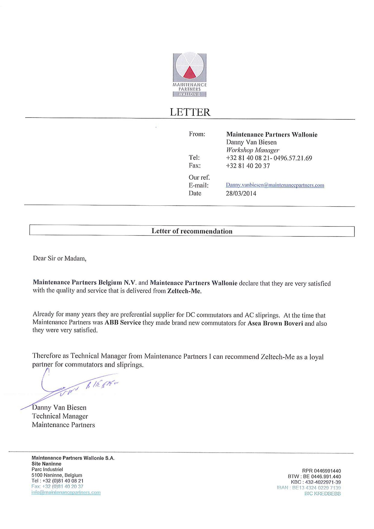 List Referencyjny Maintenance Partners Wallonie