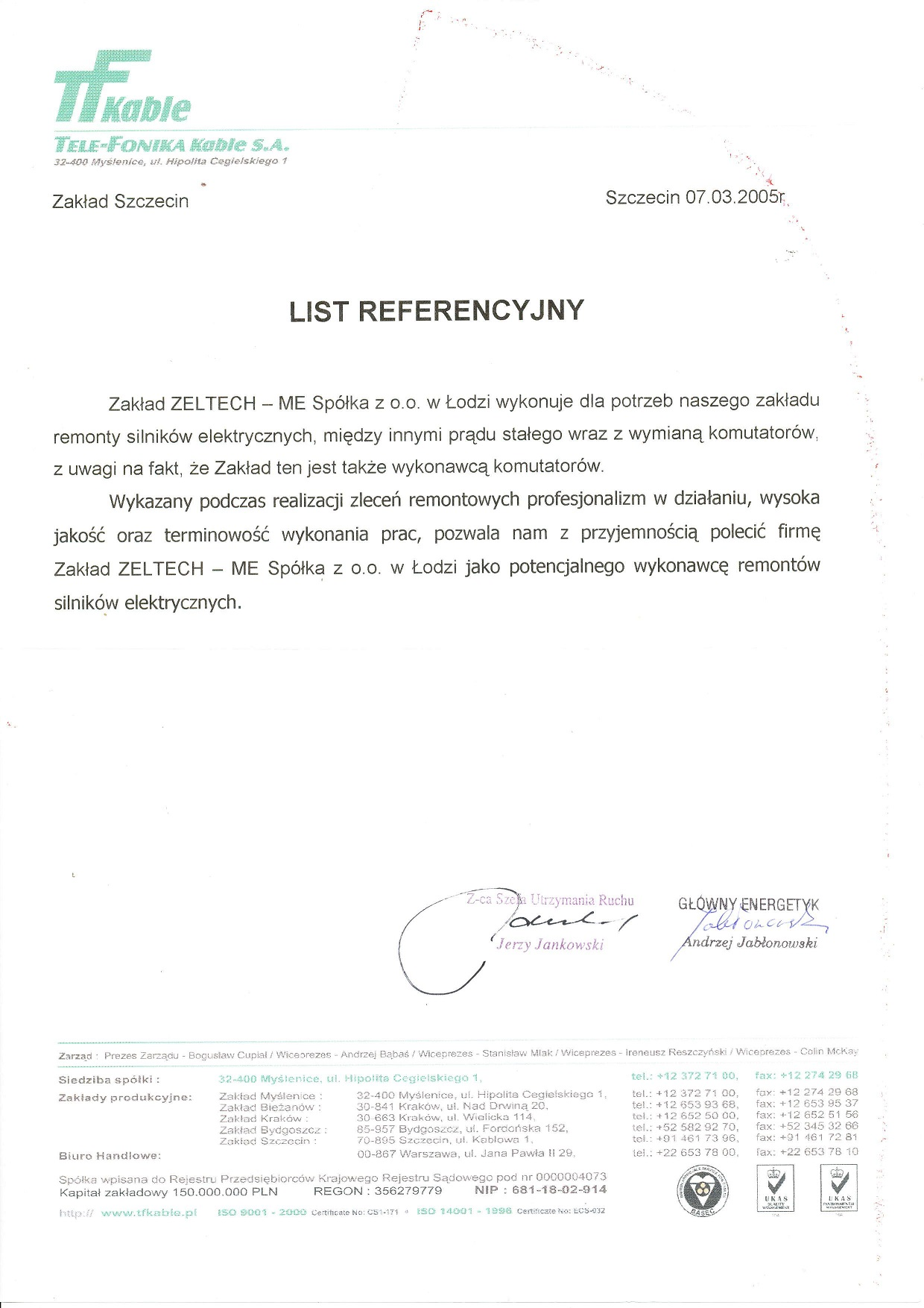 List Referencyjny Tele-Fonika Kable