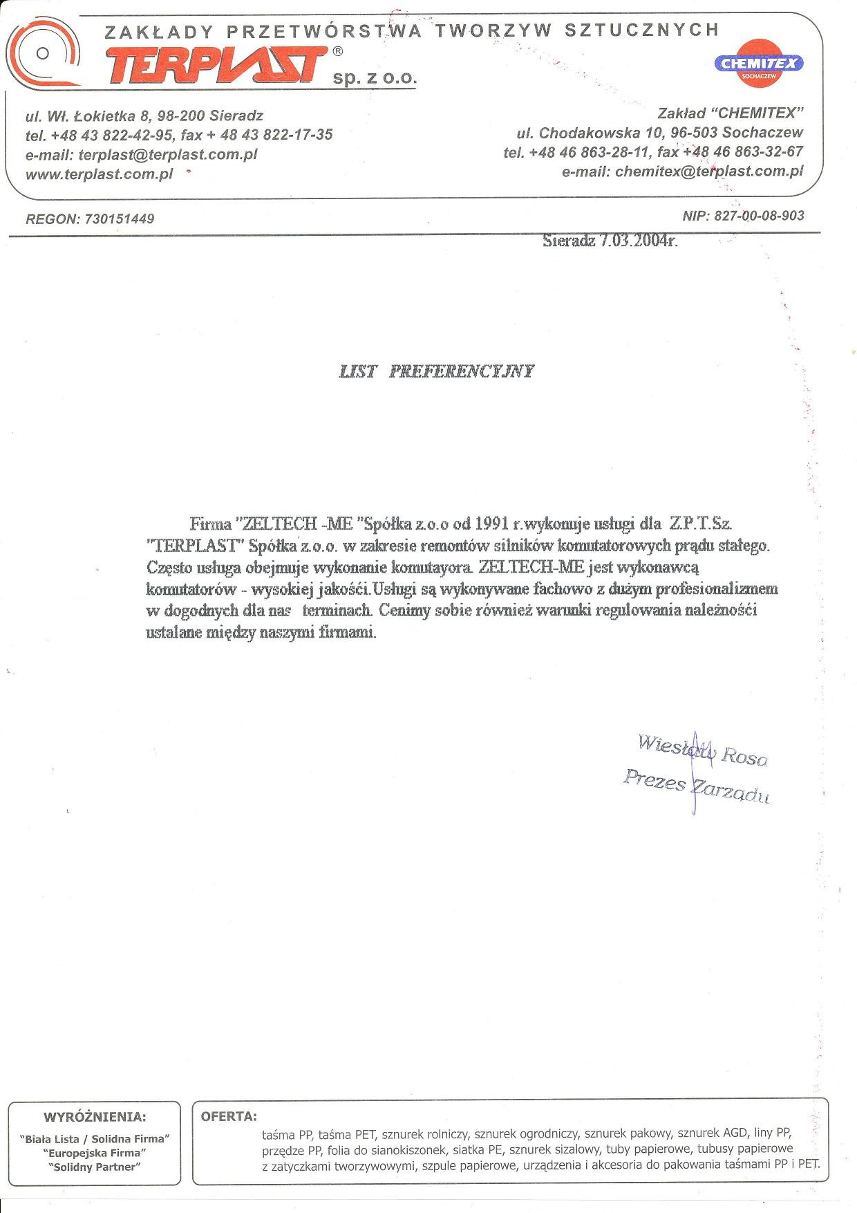 List referencyjny Terplast