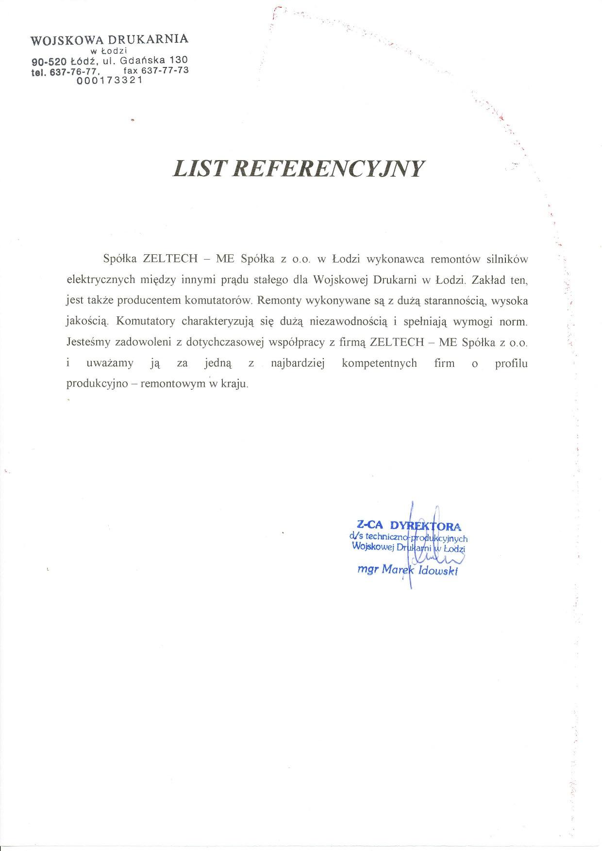 List Referencyjny Wojskowa Drukarnia w Łodzi