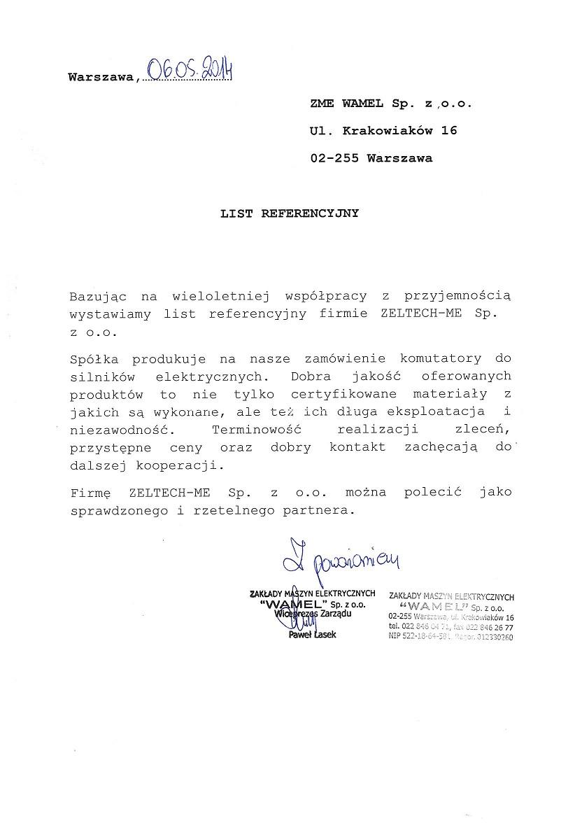 List referencyjny Tamel