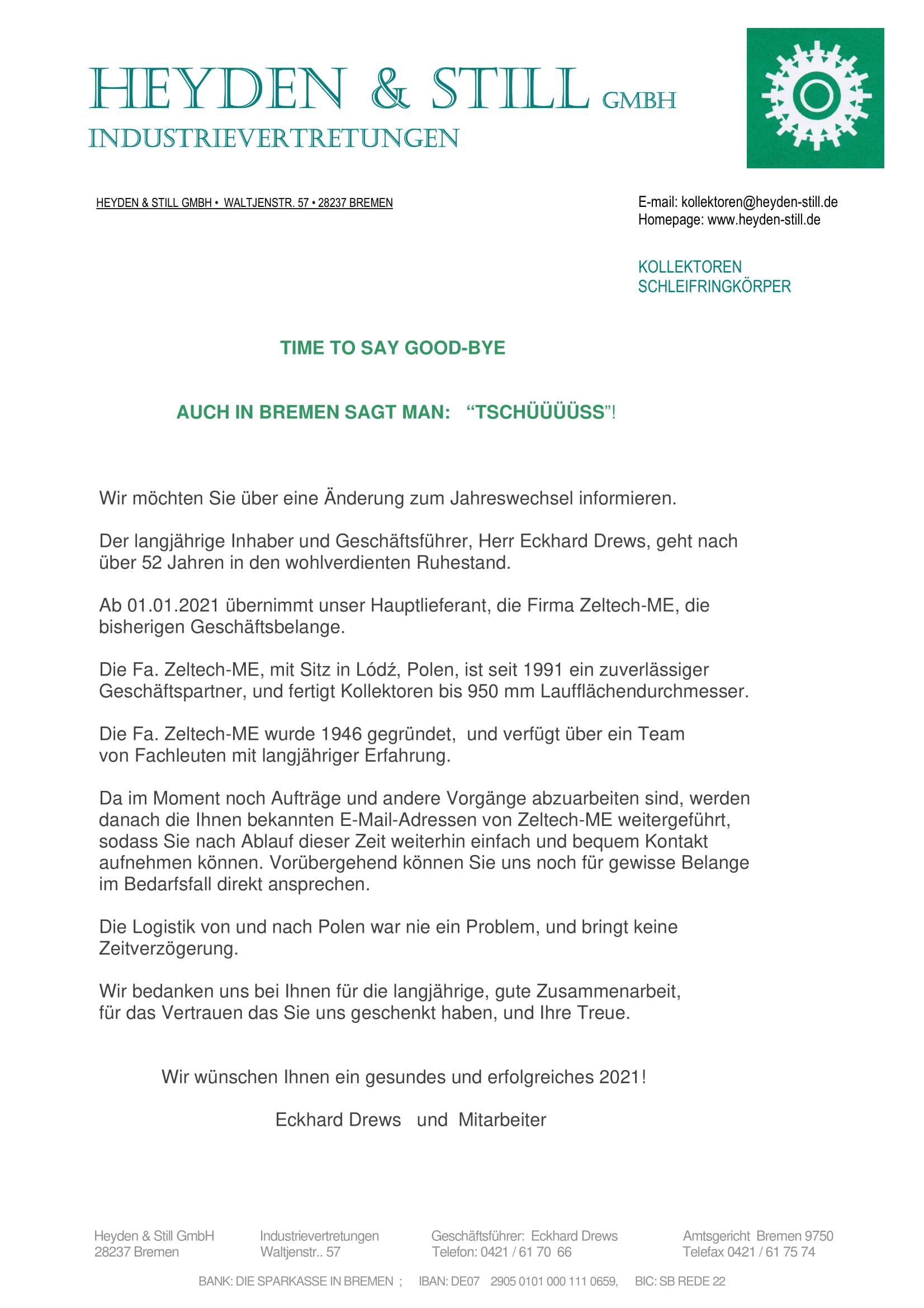 List referensyjny HEYDEN & STILL GmbH